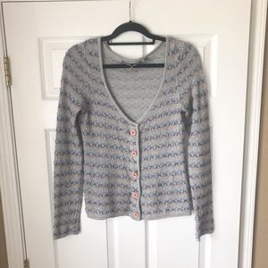 Anthropologie Gray patterned cardigan sweater